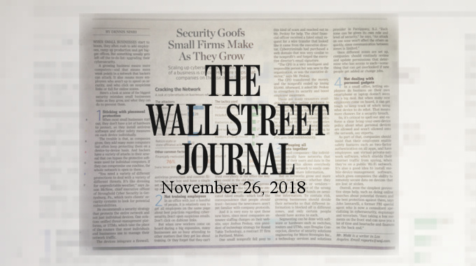 Stronghold Cyber Security CEO Sourced For Wall Street Journal Article On Business Cyber Security